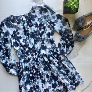 Kimchi Blue Floral Blue Long Sleeve Dress